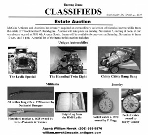 McCain Antiques Halloween Auction Ad
