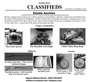 McCain Antiques Halloween Auction Ad